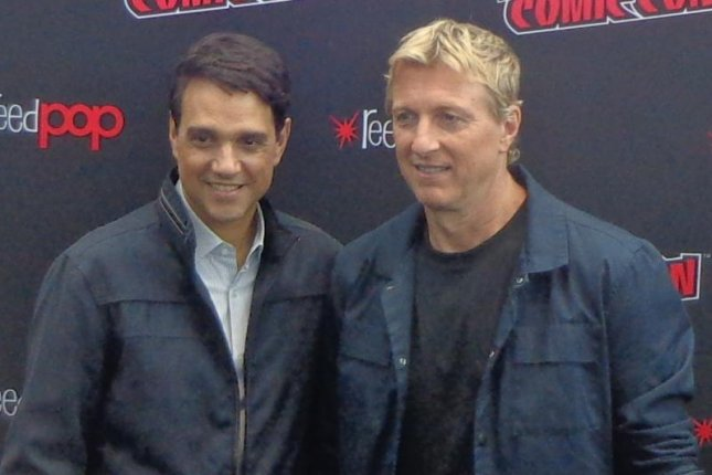 Ralph Macchio and William Zabka (R) talked to reporters at New York Comic Con on Sunday. Photo by Karen Butler/UPI