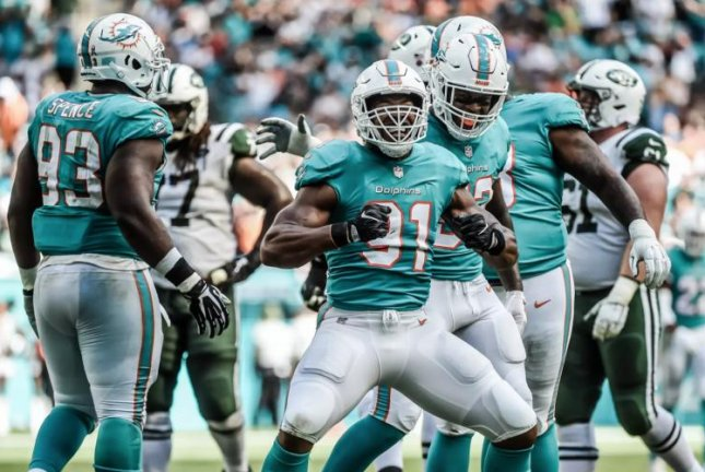 The Miami Dolphins defense intercepted New York Jets quarterback Sam Darnold four times in a win on Sunday at Hard Rock Stadium in Miami Gardens, Fla. Photo courtesy of the Miami Dolphins