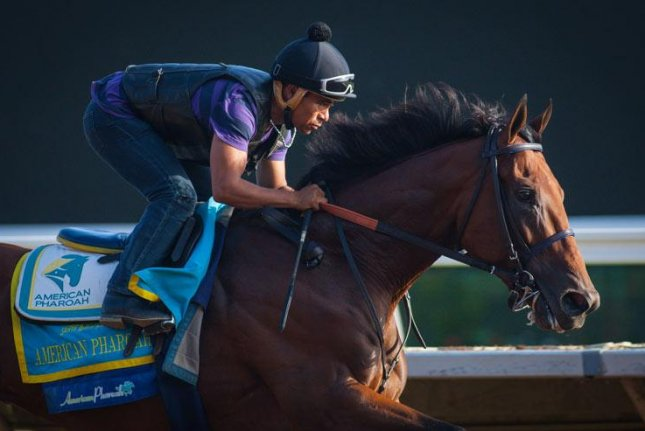 Triple Crown winner American Pharoah works Sunday (Aug. 16) at Del Mar with Martin Garcia up. He could make his next start Aug. 20 in the Travers at Saratoga. (Del Mar photo)