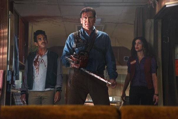 (L-R) Ray Santiago, Bruce Campbell and Dana DeLorenzo in a scene from Ash vs. Evil Dead. Photo courtesy of Starz