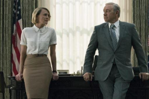 Filming of House of Cards, starring Robin Wright as Claire Underwood and Kevin Spacey as Frank Underwood, has halted. Photo courtesy of Netflix
