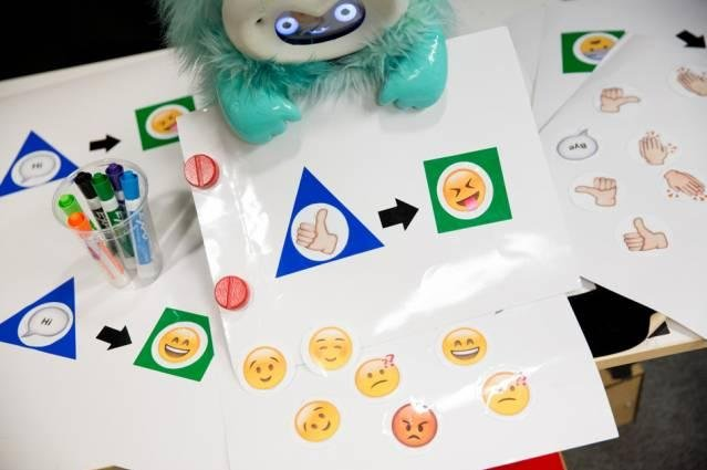 As part of the activity, children learned to program the robot using series of sticker symbols. Photo by Bryce Vickmark/MIT