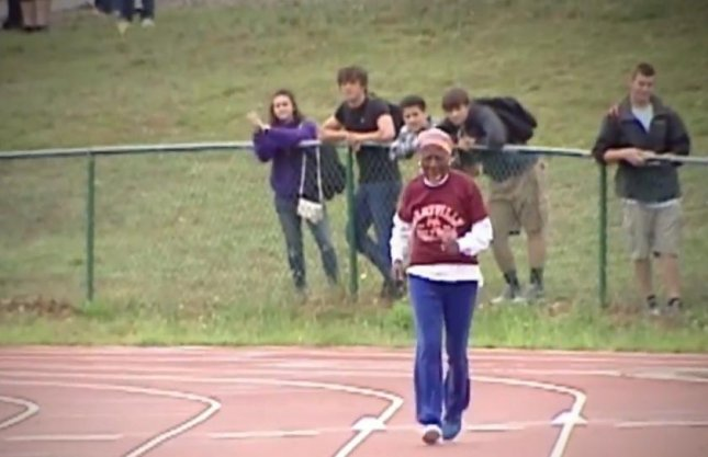 A 100-year-old retired school teacher from Chensee, South Carolina, set an unofficial record in the 100 yard dash. Ella Mae Colbert completed the dash with a bandage on her chin after stumbling on her first attempt. She topped the previous record by completing the run in 46.7 seconds.  Screen capture/NBCU/AOL