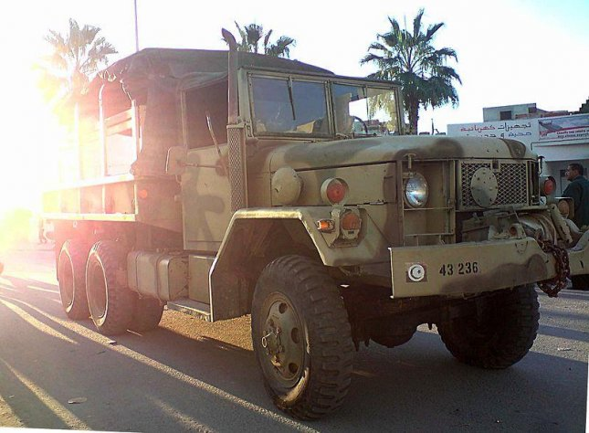 A Tunisian Army vehicle. A Tunisian soldier was shot to death after he opened fire in a Tunis military barracks, killing three fellow soldiers. File Photo by wikimedia.org/ Habib M'henni.