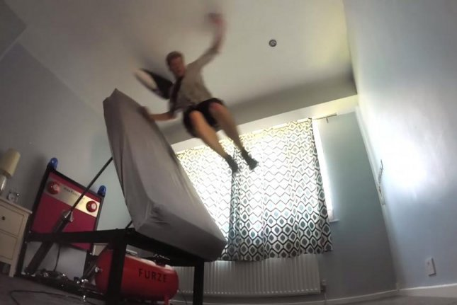 Inventor Colin Furze is launched into the air by his High Voltage Ejector Bed. colinfurze/YouTube video screenshot