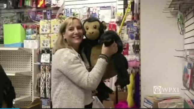 Carol Suchman bought a closed Manhattan toy store's entire inventory to donate to the city's homeless. WPXI-TV video screenshot