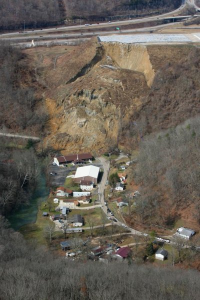Charleston, W. Va. landslide area. Photo courtesy Lt. Col. Todd Harrell/ West Virginia National Guard