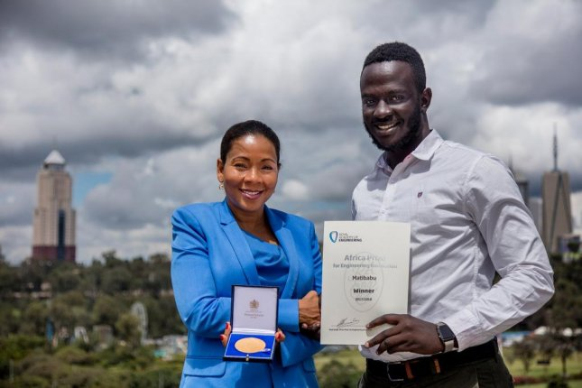 Brian Gitta, a 24-year-old Ugandan, became the youngest winner of the Africa Prize this week for developing a bloodless test for malaria. Photo courtesy Royal Academy of Engineering/Twitter