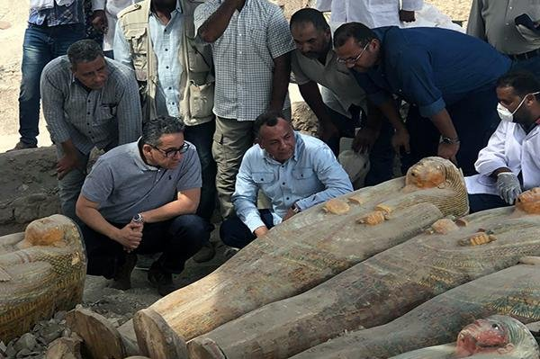 Archaeologists in Egypt on Saturday mummies discovered earlier this year in Luxor and estimated to be 3,000 years old. Photo courtesy Egypt's Antiquities Ministry