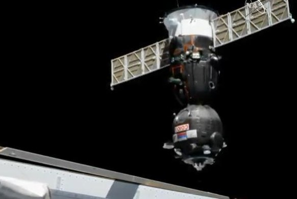 A Soyuz space capsule approaches the International Space Station on Thursday. Photo courtesy of NASA