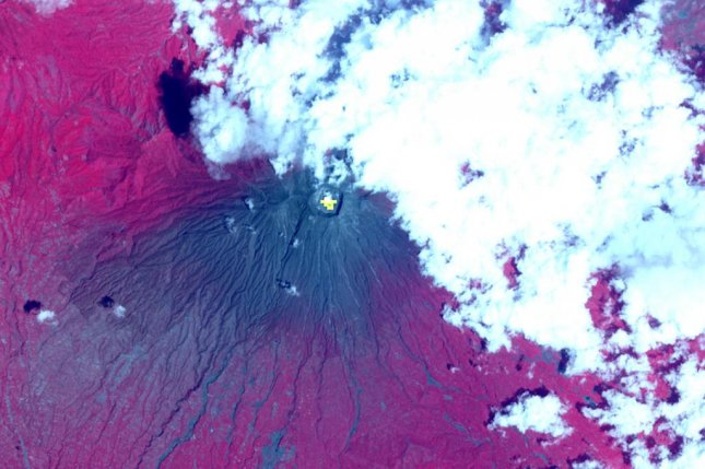 One of NASA's satellites imaged Agung shortly after it began erupting in 2017. Photo by NASA/METI/AIST/Japan Space Systems, and U.S./Japan ASTER Science Team