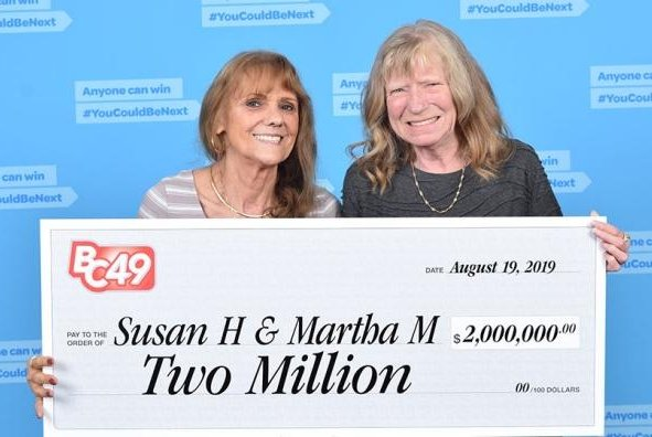 Susan Hook and Martha McCallum said they plan to travel and make their lives comfortable. Photo courtesy of British Columbia Lottery