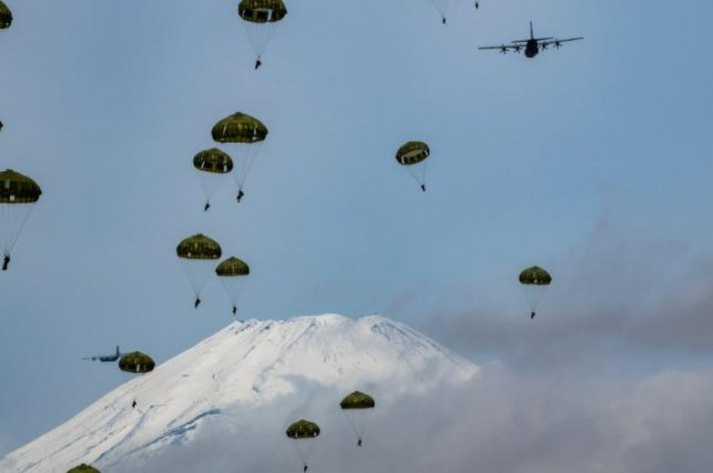 The largest airborne parachute exercise in the history of the U.S.-Japan military alliance, involving over 500 paratroopers, was conducted this week in Japan. Photo by Yasuo Osakabe/U.S. Air Force