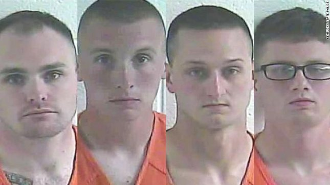 Four Kentucky National Guard soldiers -- identified as (L to R) Anthony Tubolino, Austin Dennis, Jacob Ruth and Tyler Hart -- were arrested on June 3 after a report of sexual assault, Kentucky State Police said. Photo courtesy of Kentucky State Police