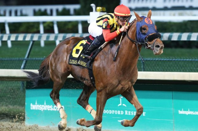 Mind Your Biscuits wins Saturday's Lukas Classic at Churchill Downs and now is a candidate for any one of three Breeders' Cup races. Photo courtesy of Churchill Downs