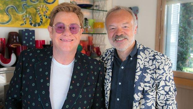 Pop star Elton John was interviewed by Graham Norton for a BBC TV special to air later this fall. File Photo by David Silpa/UPI