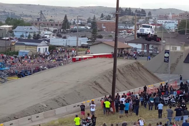 Gregg Godfrey jumps a semi cab 166 feet at Evel Knievel days in Butte, Mont. Colton Moore/YouTube video screenshot