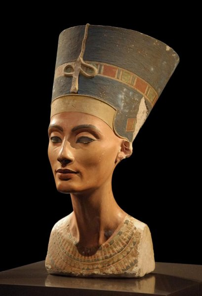 A bust of Egyptian Queen Nefertiti resides in Berlin's Neues Museum. New research, announced Thursday, suggests she may be buried in a room adjacent to the tomb of King Tutankhamun, her son. Photo by Philip Pikart/Wikipedia