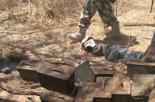 Ammunition boxes litter a road after Nigerian army troops clashed with Boko Haram forces in Kareto, Nigeria, on Monday. Over 30 Boko Haram members were killed, the army said. Photo courtesy of the Nigerian Army/Facebook