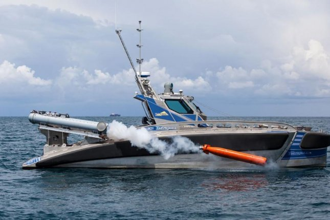 Elbit Systems 40-foot, aluminum unmanned surface vessel is touted as a low-cost anti-mine and anti-submarine hunter. Photo courtesy of Elbit Systems