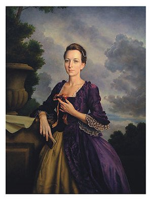 A team of Forensic anthropologists used the 1796 portrait of Mrs. Washington to create an image of what a young Martha Washington would have looked like in her 20s, inspiring this painting by Michael Deas.