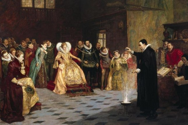 John Dee performs an experiment for Queen Elizabeth 1 in the oil painting by Henry Gillard Glindoni, but new analysis shows Dee originally was surrounded by a halo of skulls -- a nod to his well-known interest in the occult. Photo by Wellcome Library