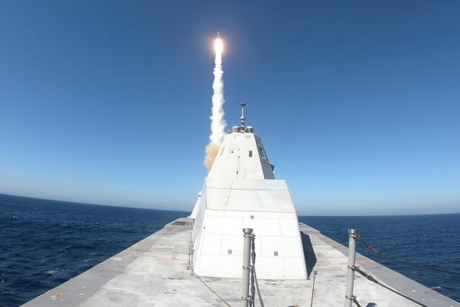 The USS Zumwalt's had its first missile test earlier this month on the Naval Air Weapons Center Weapons Division Sea Test Range, Point Mogu. Photo courtesy of the U.S. Navy