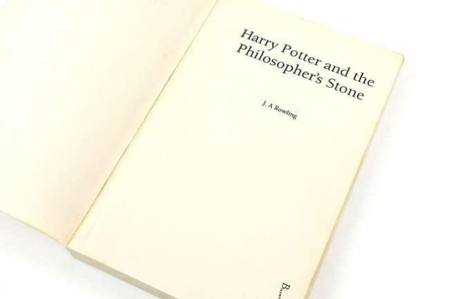 A rare proof copy of Harry Potter and the Philosopher's Stone with a typographical error on the title page is being sold by auctioneer Ewbank's, and is expected to fetch up to $5,600. Photo courtesy of Ewbank's
