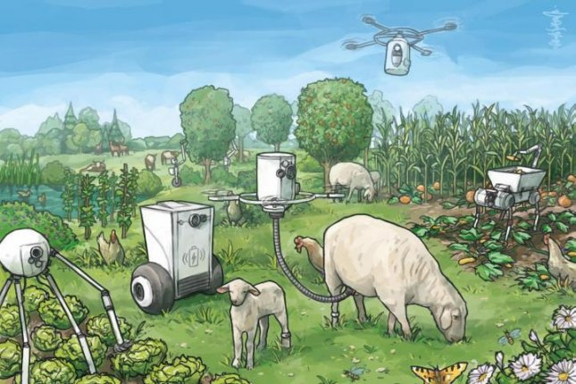 An illustration shows what a utopian farm run by a variety of intelligent robots might look like. Photo by Natalis Lorenz