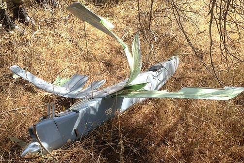 Turkey released a photo of the drone, of undetermined origin, its fighter planes shot down Friday. Photo by Andolou Agency