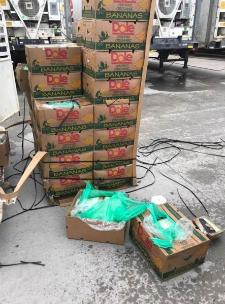 Texas prison officials found the cocaine inside boxes of bananas that were donated to a prison because they were already ripe. Photo courtesy of Texas Department of Criminal Justice
