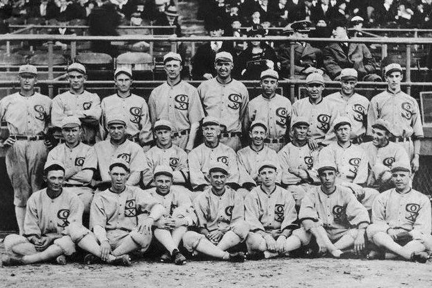 The 1919 Chicago White Sox finished first in the American League with an 84-56 record before losing the World Series to the Cincinnati Reds in eight games. Joe Shoeless Joe Jackson led the White Sox with a .351 batting average and 96 RBIs. Photo courtesy of Wikimedia Commons