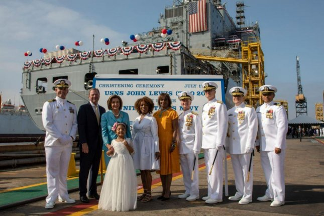 The U.S. Navy christened the first in a new class of oil replenishment tankers, to be named after civil rights leader and member of Congress John Lewis, on Saturday. Photo courtesy of NASSCO
