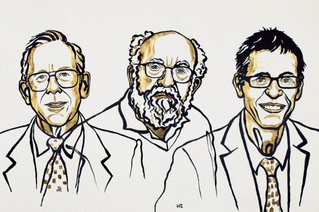 The Nobel Prize for Physics was split between James Peebles, for his discovery of dark matter, and Michael Mayor and Didier Queloz for their discovery of exoplanets. Illustration by Niklas Elmedhed/Nobel Media