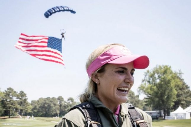 Lexi Thompson skydived with a Navy Seal to the first hole before the start of the Kingsmill event, a dream come true she said. Photo courtesy Lexi Thompson/Twitter
