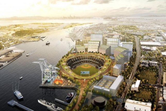 The Oakland Athletics' Howard Terminal ballpark at Jack London Square is projected to open in 2023. Photo courtesy of the Oakland Athletics