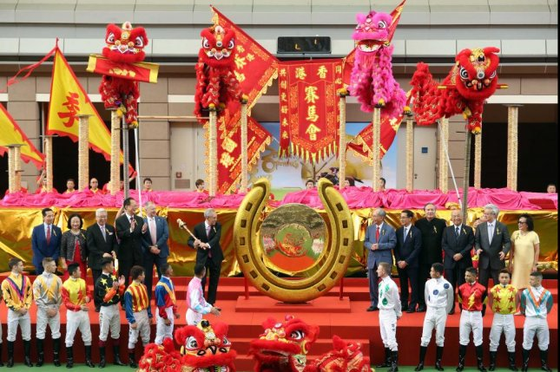 Hong Kong Jockey Club Chairman Anthony Chow rings the gong to open Hong Kong's 2019-20 racing season. Photo courtesy of Hong Kong Jackey Club