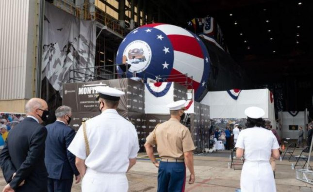The nuclear submarine USS Montana, seen at its October 2020 christening, was formally launched into the James River in Virginia on Wednesday. Photo by Matt Hildreth/U.S. Navy