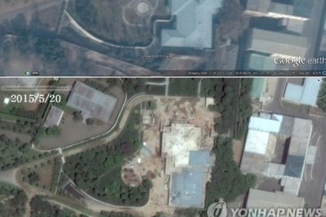 Two satellite images were compared to produce the analysis on Kim Jong Un's Residence No. 15: the first from Jan. 14 and the second from May 20 show the progress on the roof and the garden. Photo by Yonhap