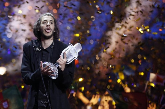 Salvador Sobral of Portugal celebrates after winning the 62nd annual Eurovision Song Contest at the International Exhibition Centre in Kiev, Ukraine, on Saturday. It is Portugal's first ever victory in the massively popular competition. Photo by SERGEY DOLZHENKO/EPA