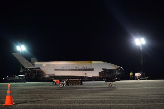The Air Force's X-37B Orbital Test Vehicle Mission 5 successfully completed a record-breaking 270 days in orbit, landing at Florida's Kennedy Space Center on Sunday. Photo by Jeremy Webster/U.S. Air Force