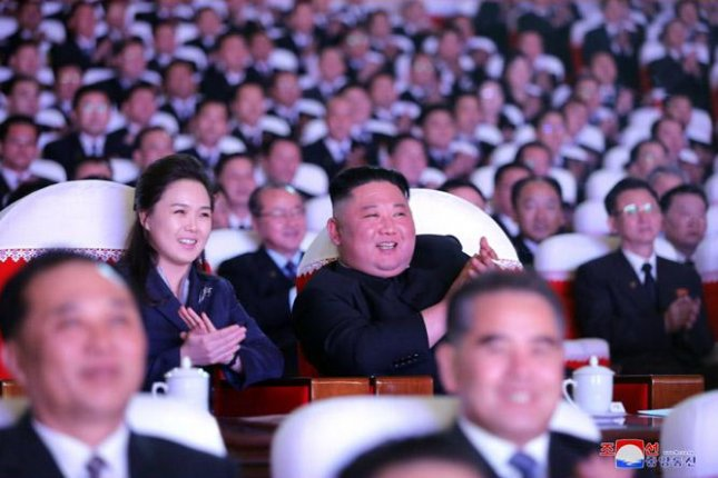 Ri Sol Ju, the wife of North Korean leader Kim Jong Un, was seen for the first time in over a year at a concert to celebrate the Day of the Shining Star, a major national holiday, state media reported Wednesday. Photo by KCNA