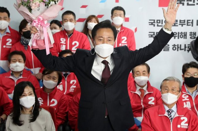 Opposition candidate Oh Se-hoon of the People Power Party was elected mayor of Seoul on Wednesday in an election largely viewed as a referendum on the ruling Democratic Party. Photo by Yonhap