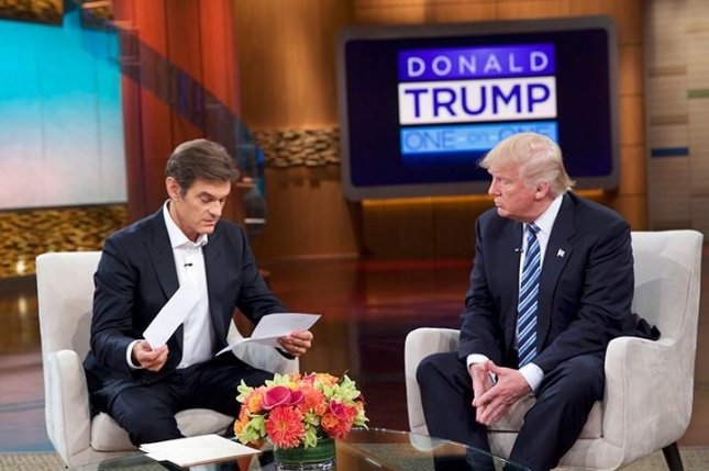 Republican presidential nominee Donald Trup, right, sits for an interview with television host Dr. Mehmet Oz on The Dr. Oz Show. Trump released a summary of his most recent physical with his doctor, showing him in good health, though overweight. Photo courtesy The Dr. Oz Show