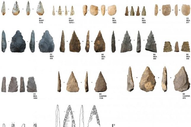 Projectiles recovered from a South African cave offer the earliest evidence of pressure flaking technology. Photo by Veerle Rots, et al./PLOS ONE