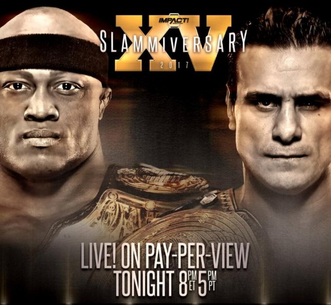 (Left to right) Impact Wrestling World Heavyweight Champion Bobby Lashley took on GFW Global Champion Alberto El Patron in a title unification match Sunday at Slammiversary XV. Photo courtesy of Impact Wrestling/Twitter