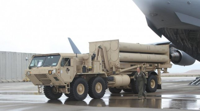 A U.S. Air Force Airmen offloads a THAAD system from a C-17 Globe Master III at Nevatim Air Base, Israel. Photo courtesy USEUCOM