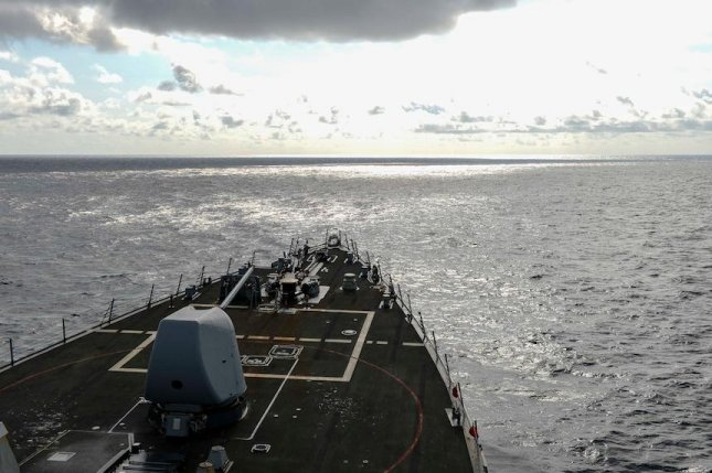 The USS Russell guided-missile destroyer conducted a so-called freedom of navigation operation in the South China Sea on Wednesday.Photo by Mass Communication Specialist 3rd Class Wade Costin/U.S. 7th Fleet