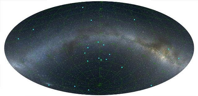 A diagram reveals the positioning of the newly discovered ring of GRBs, located seven billion light years from the Milk Way Galaxy and stretching five billion light years across. Photo by Balazs/RAS