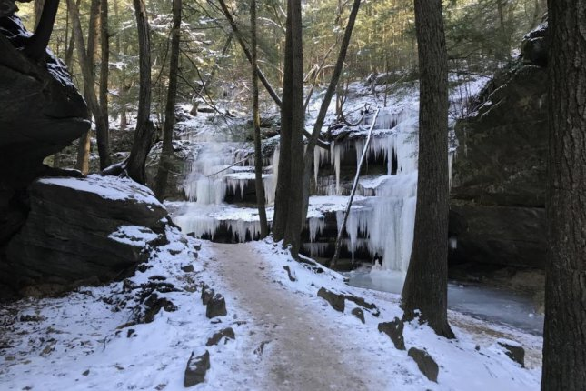 Ash Cave in Hocking Hills State Park is covered with ice on Wednesday. Photo courtesy of Ohio State Parks/Twitter